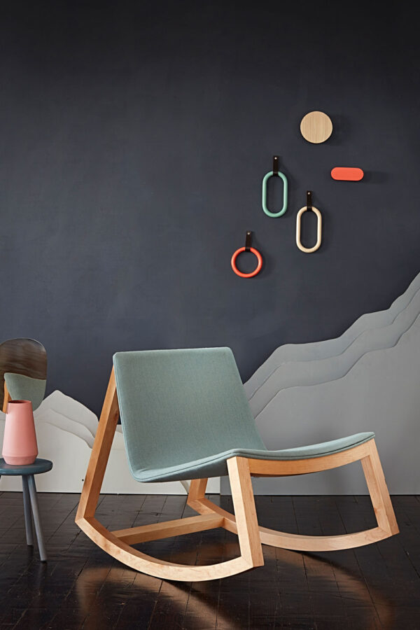 Modern rocking chair, on display with Irish made wall hooks