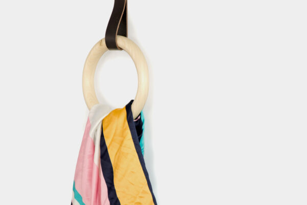 Colourful wall hook, with bathroom towel