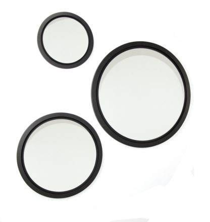 Large round mirrors, made in Ireland and ideally suited to modern living rooms and bathrooms. Coolree Design specialises in unique homewares like these wood mirrors with a beautiful black frame