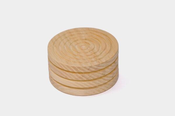 Set of Irish made, round wood coasters