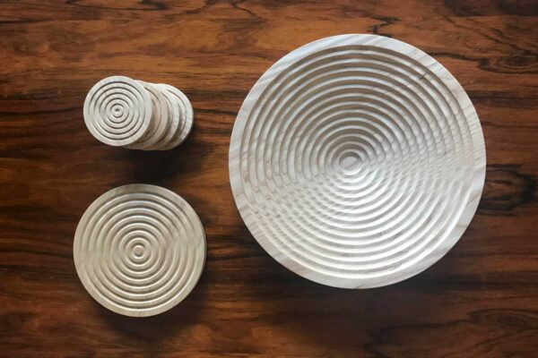 Wooden fruit bowl and coasters, made in Ireland