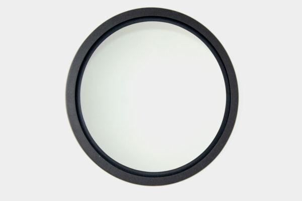Large modern, round mirror, in black