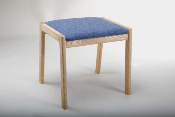 Modern Irish made stool, with blue fabric