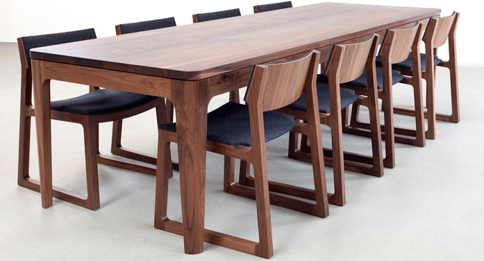 Bespoke dining table and chairs, on display in Dublin