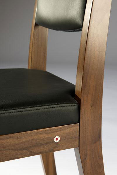 Modern Walnut, dining chair, with black leather upholstery